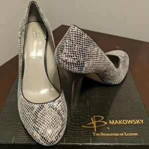 Pewter leather heels